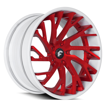 Forgiato Sincro-ECL Brushed Red Center with White Lip Finish Wheels