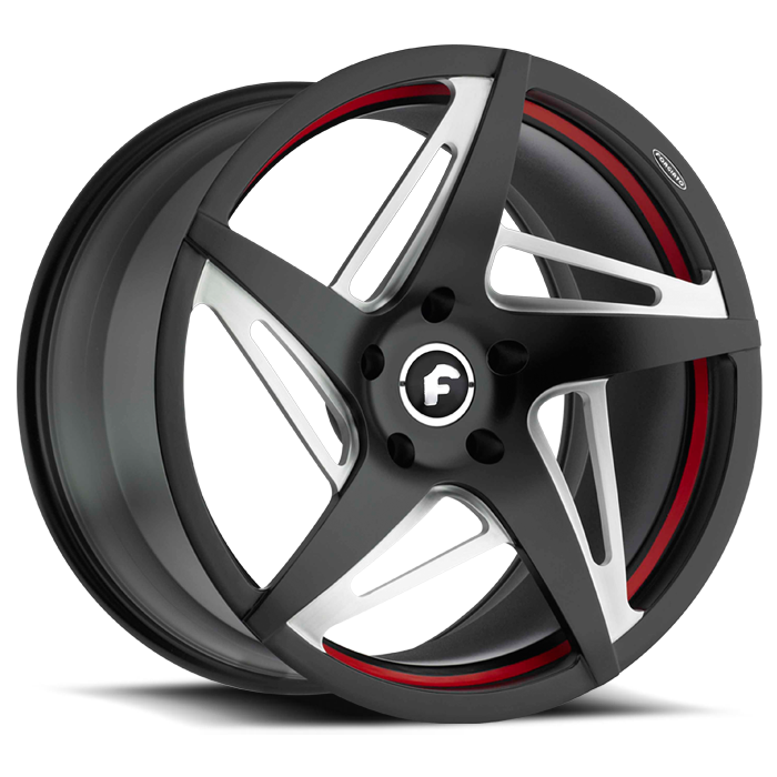 Forgiato Spacco-M Black Satin and Red Finish Wheels