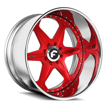 Forgiato Sporcizia Red and Chrome Finish Wheels
