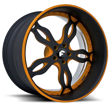Forgiato Stili Black and Orange Center with Black and Orange Lip Finish Wheels