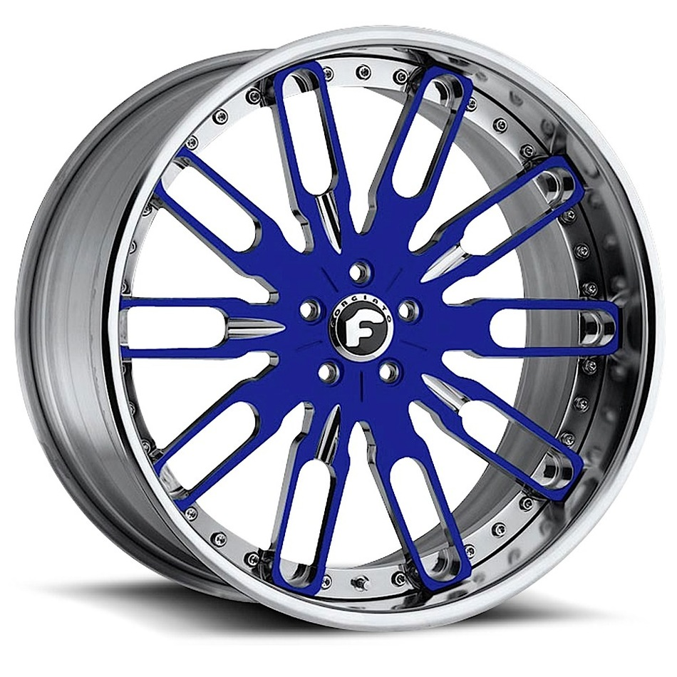 Forgiato Taglio Blue and Chrome Center with Chrome Lip Wheels