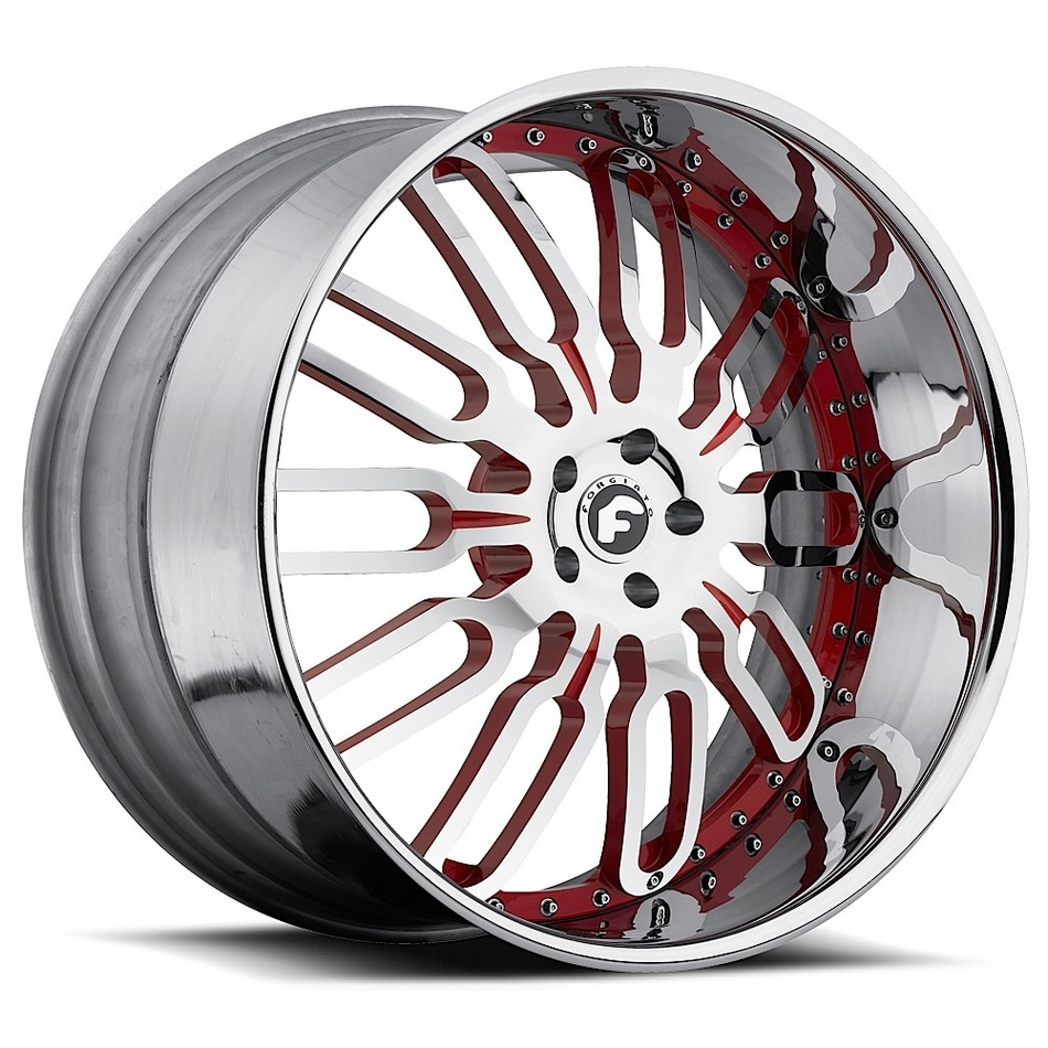 Forgiato Taglio Chrome and Red Center with Chrome Lip Finish Wheels