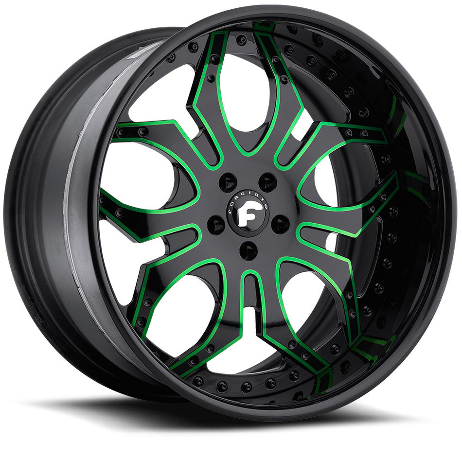 Forgiato Tello Black and Green Center with Black Lip Finish Wheels