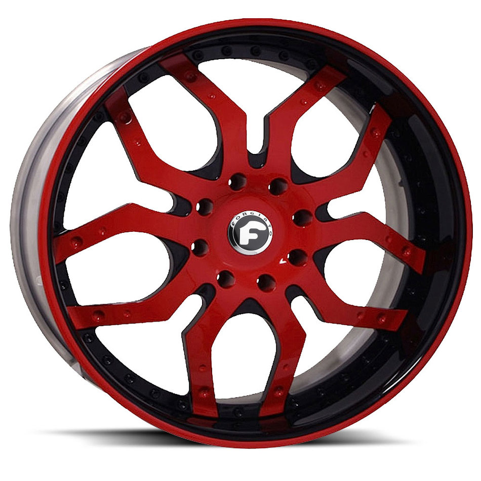 Forgiato Tello Red and Black Center with Black and Red Lip Finish Wheels