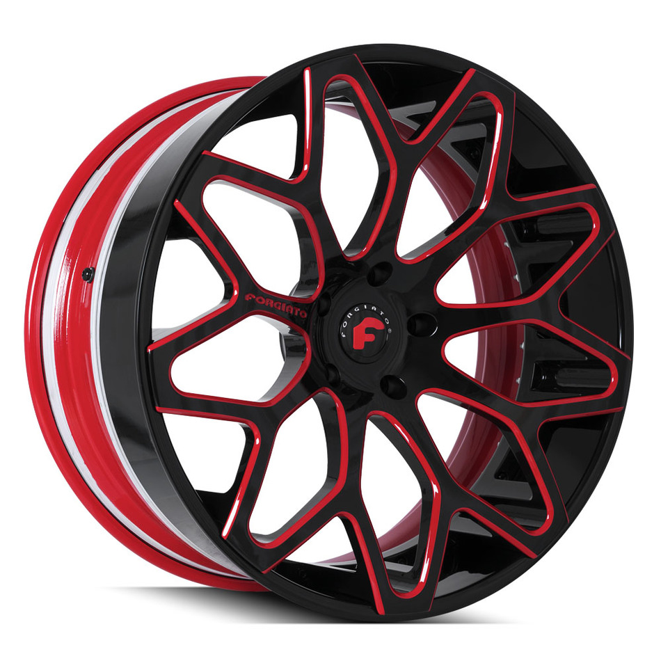 Forgiato Tessi-ECL Black and Red Finish Wheels