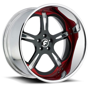Forgiato Trifolio Black Chrome and Red Center with Chrome Lip Finish Wheels