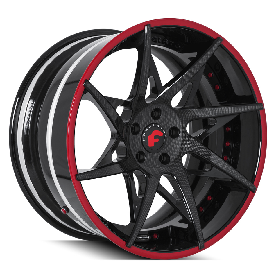 Forgiato Turni-ECL Carbon Fiber and Black Center with Gloss Black and Red Lip Finish Wheels