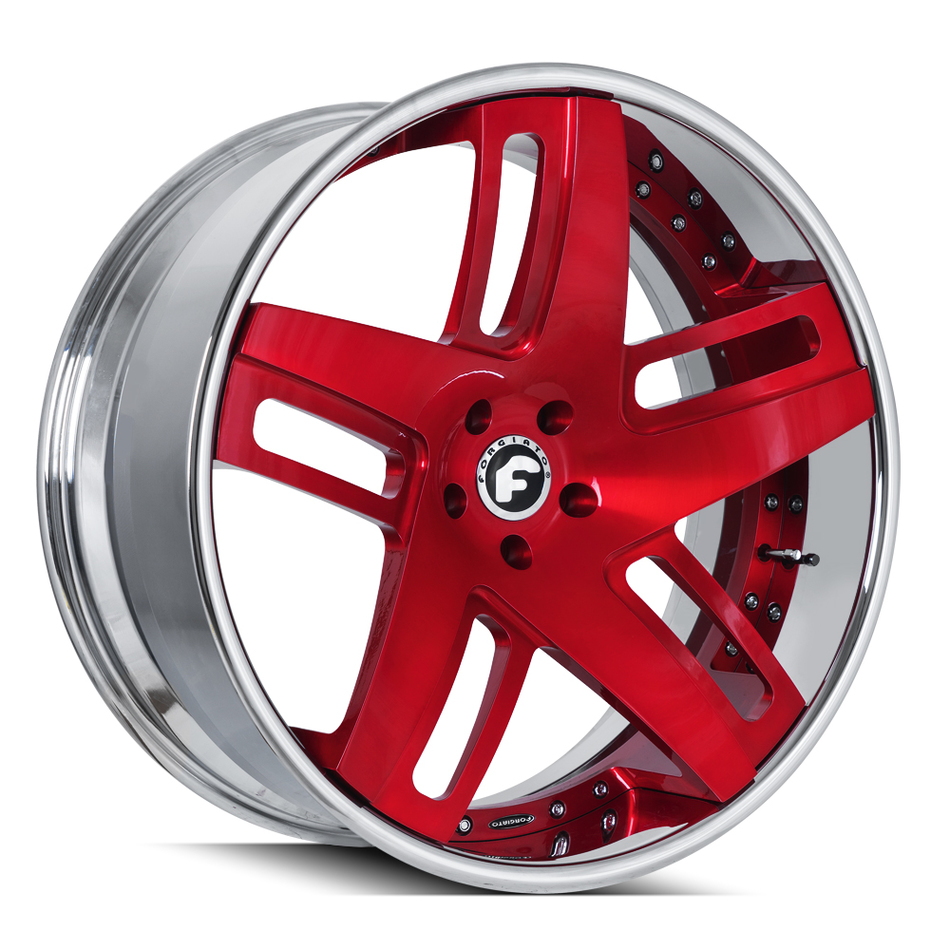 Forgiato Veccio-ECL Brushed Red Center with Chrome Lip Finish Wheels