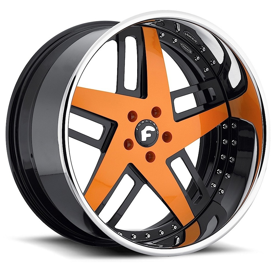 Forgiato Veccio Orange and Black Center with Chrome Lip Finish Wheels