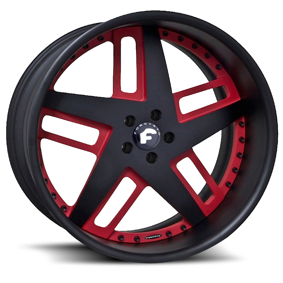 Forgiato Veccio Black and Red Center with Black Lip Finish Wheels