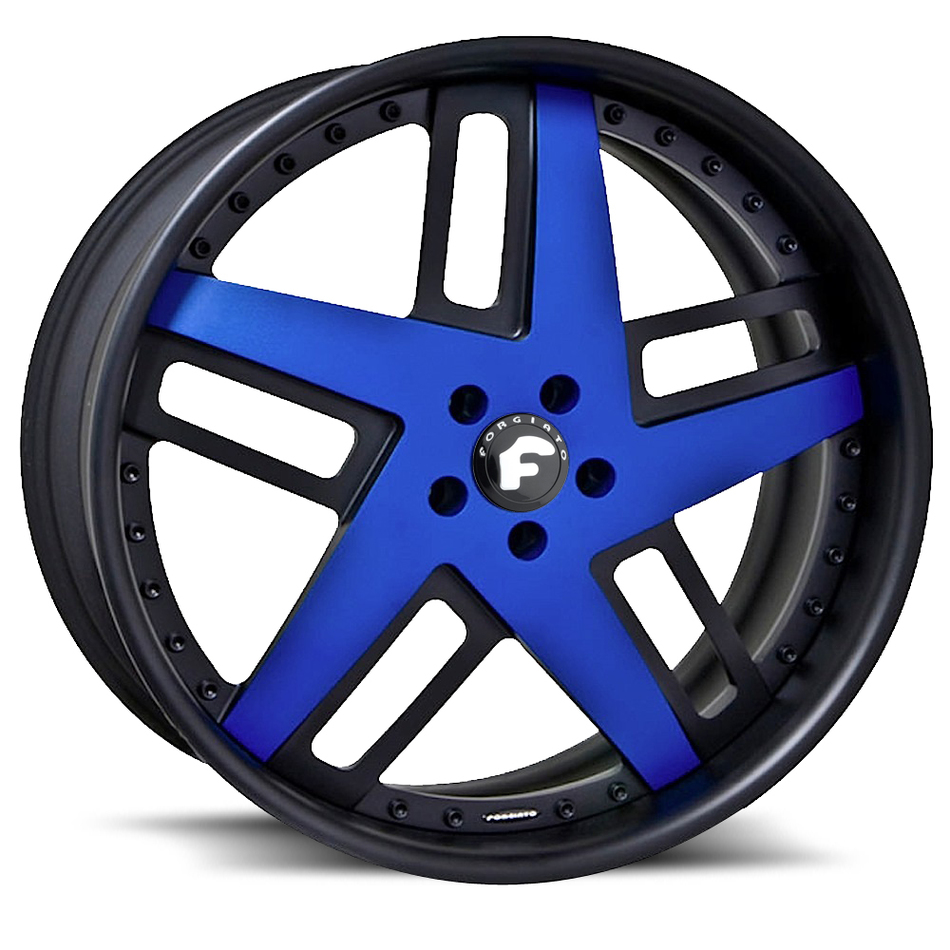Forgiato Veccio Blue and Black Center with Black Lip Finish Wheels