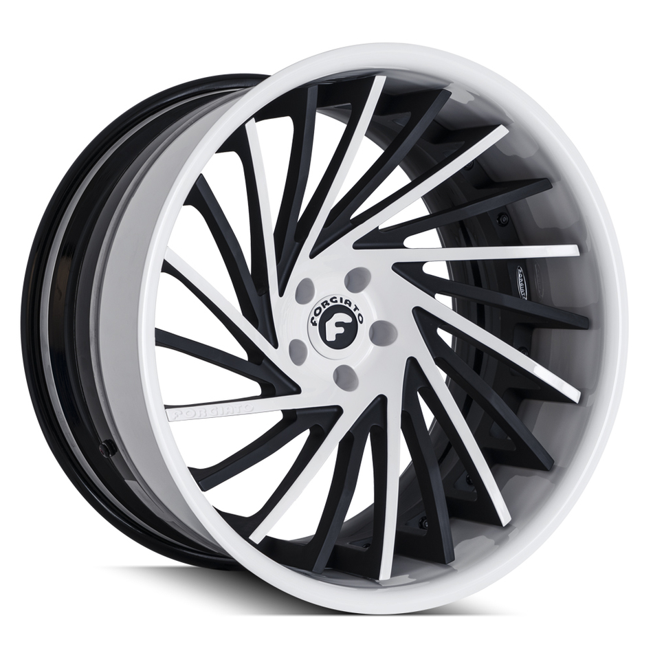 Forgiato Ventoso-ECL Black and White Finish Wheels