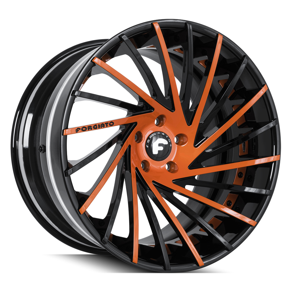 Forgiato Ventoso-ECL Black and Orange Finish Wheels