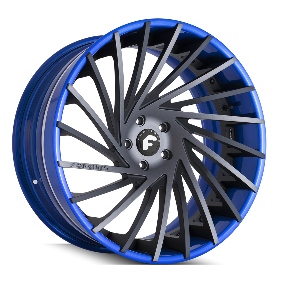 Forgiato Ventoso-ECL Blue and Black Finish Wheels