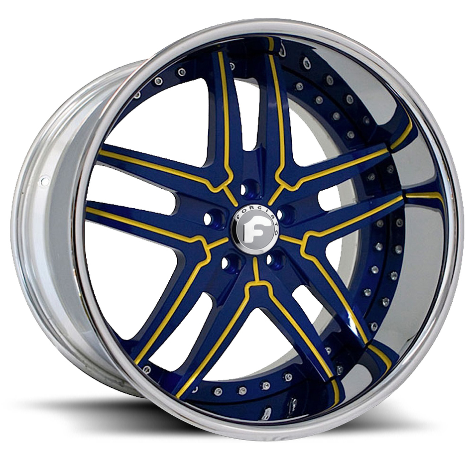Forgiato Vizzo Blue and Yellow Center with Chrome Lip Finish Wheels