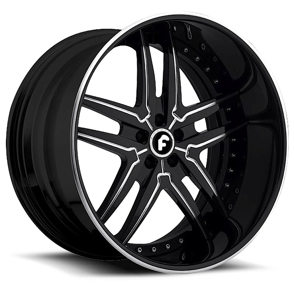 Forgiato Vizzo Black and Chrome Center with Black and Chrome Lip Finish Wheels