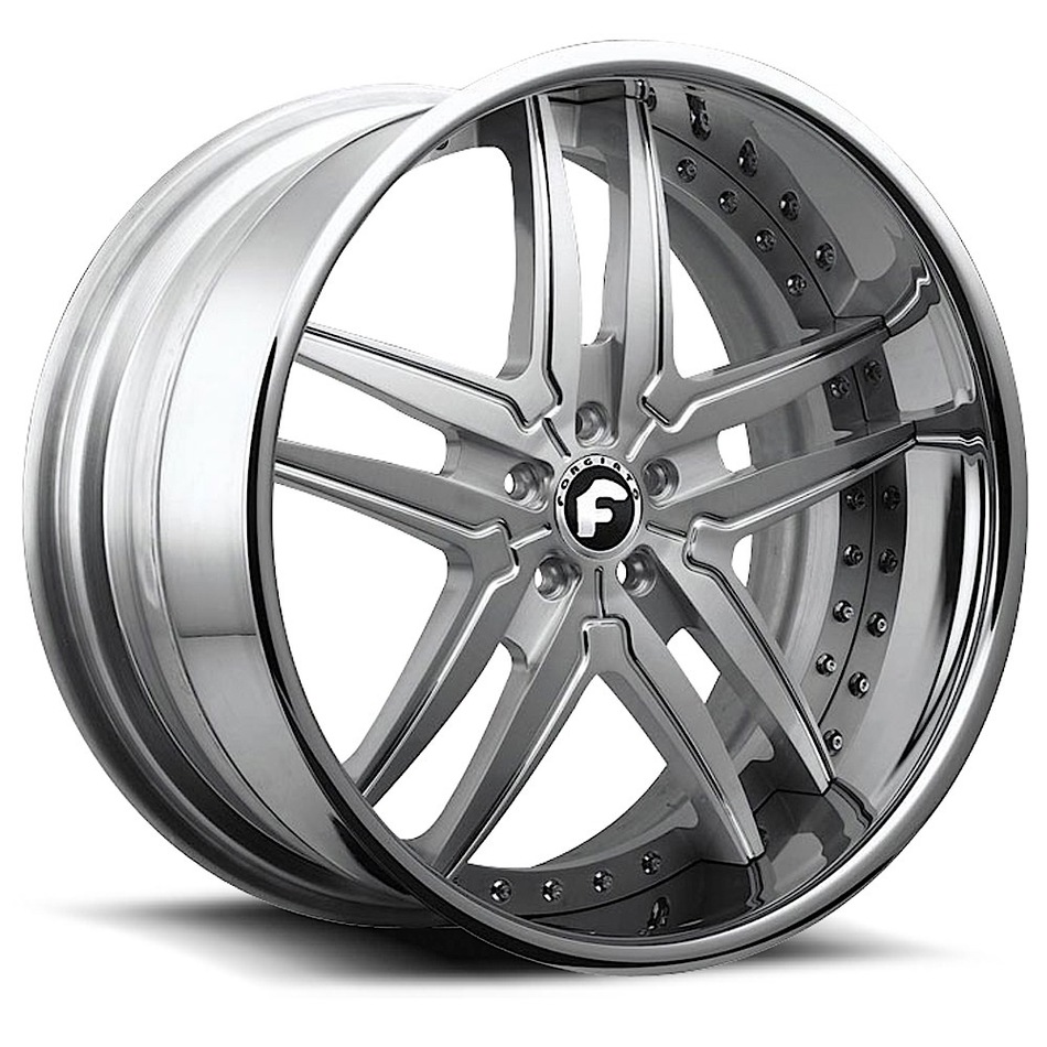 Forgiato Vizzo Satin Center with Chrome Lip Finish Wheels