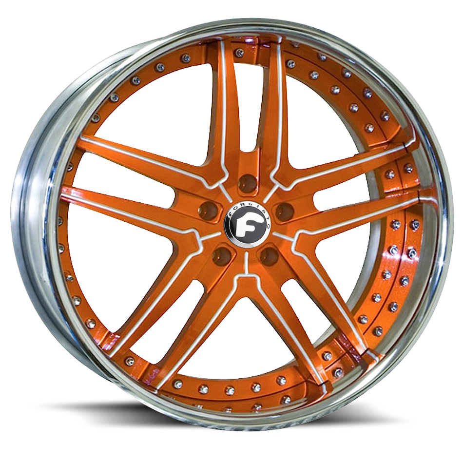 Forgiato Vizzo Orange and White Center with Chrome Lip Finish Wheels