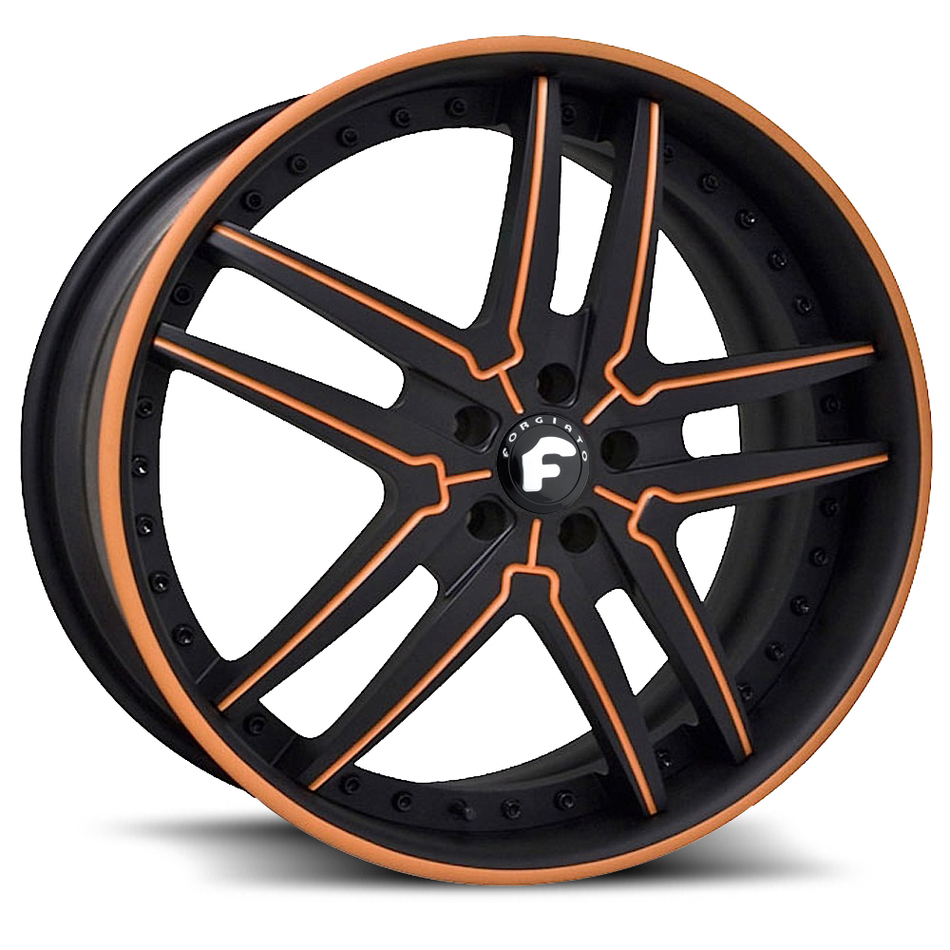Forgiato Vizzo Black and Orange Center with Black and Orange Lip Finish Wheels