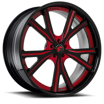 Forgiato Voglia-C Red and Black Center with Black Lip Finish Wheels