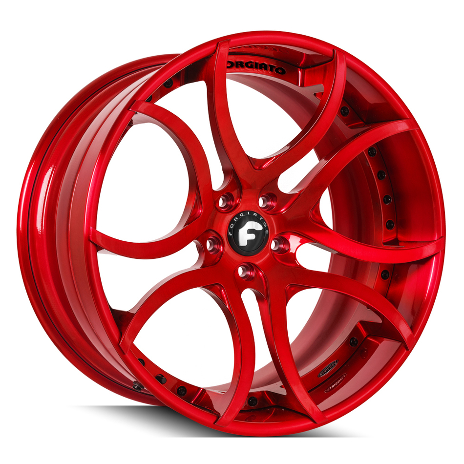 Forgiato S216 Brushed Red Finish Wheels
