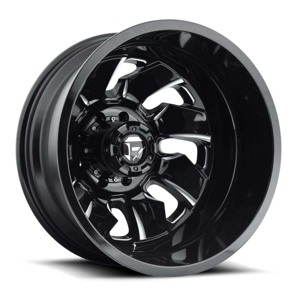 Fuel Cleaver D574 Gloss Black and Milled with Gloss Black Lip Dually One Piece Wheels - Rear