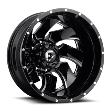 Fuel Cleaver D239 Gloss Black and Milled Dually Two Piece Wheels - Front