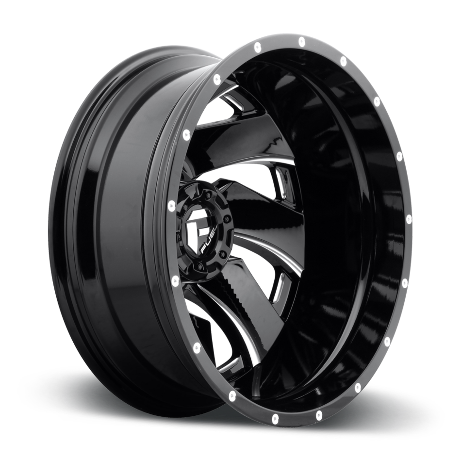 Fuel Cleaver D239 Gloss Black and Milled Dually Two Piece Wheels - Rear
