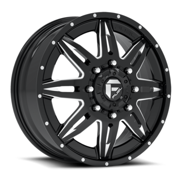 Fuel Lethal D267 Gloss Black and Milled Dually Two Piece Wheels - Front