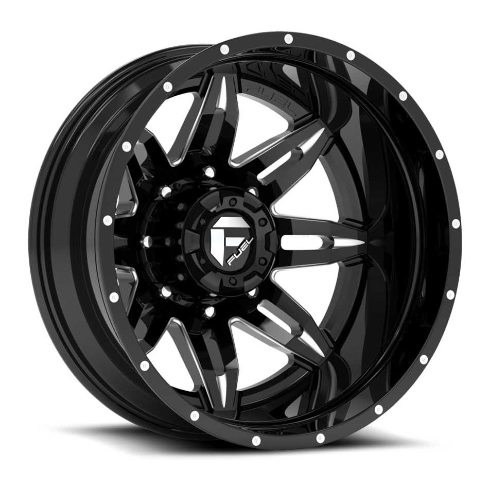 Fuel Lethal D267 Gloss Black and Milled Dually Two Piece Wheels - Rear