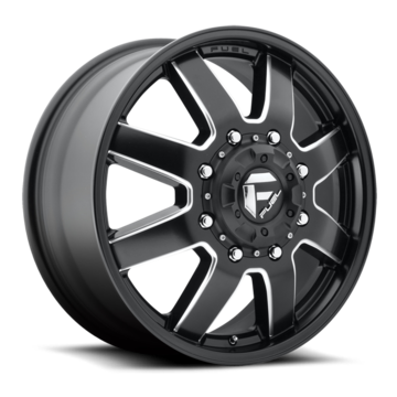 Fuel Maverick D538 Gloss Black and Milled with Gloss Black Lip Dually One Piece Wheels - Front