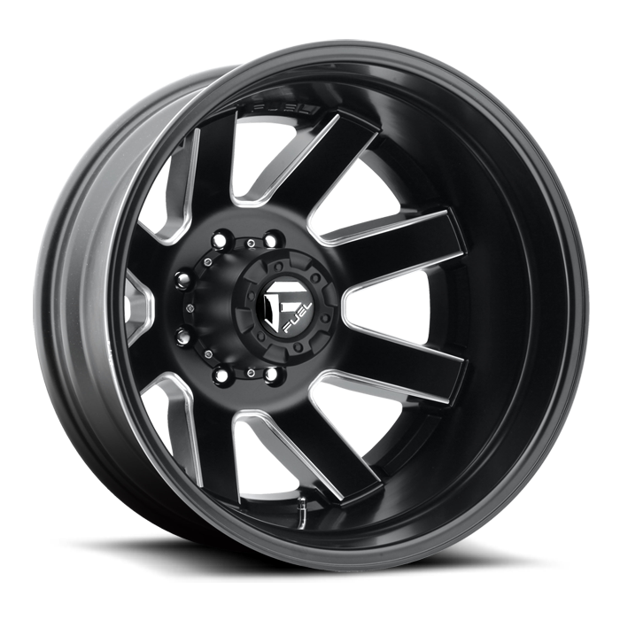 Fuel Maverick D538 Gloss Black and Milled with Gloss Black Lip Dually One Piece Wheels - Rear