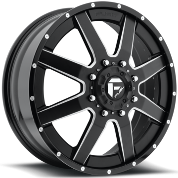 Fuel Maverick D262 Gloss Black and Milled with Gloss Black Lip Dually Two Piece Wheels - Front