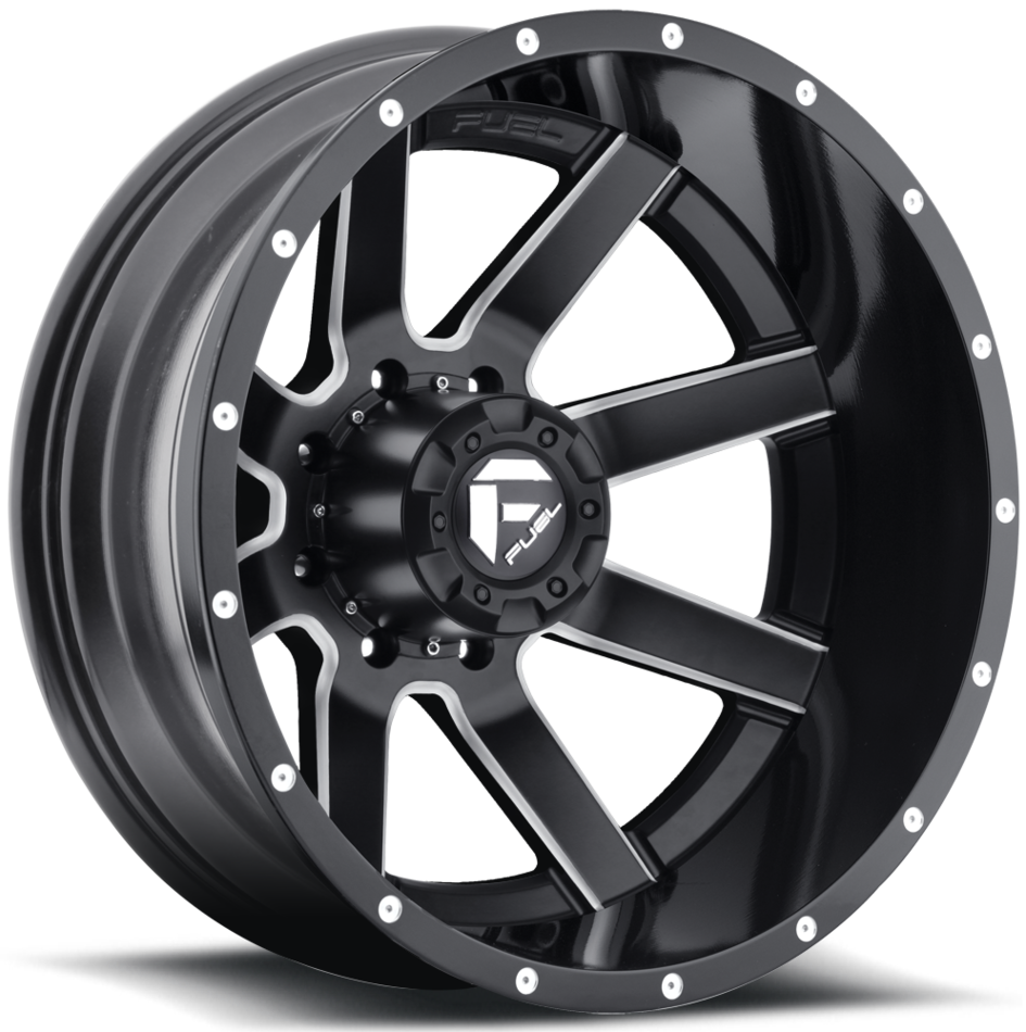 Fuel Maverick D262 Gloss Black and Milled with Gloss Black Lip Dually Two Piece Wheels - Rear