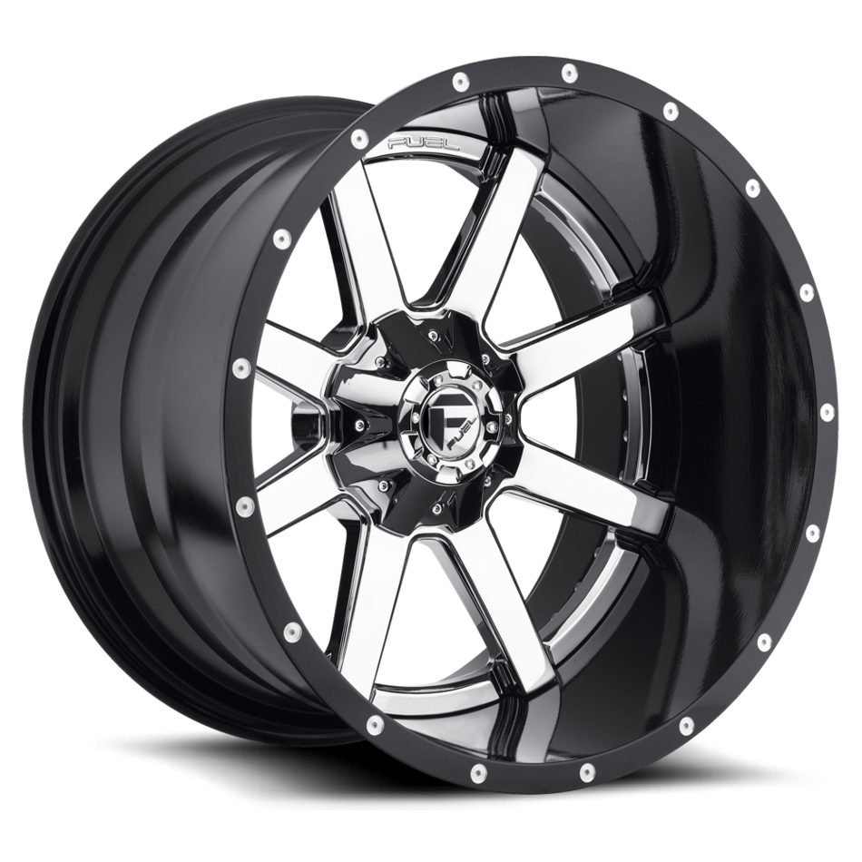 Fuel Maverick D260 Chrome with Gloss Black Lip Two Piece Off-Road Wheels