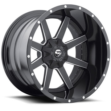 Fuel Maverick D261 Wheels | Two Piece | Black and Machined with Gloss Black Lip Finish