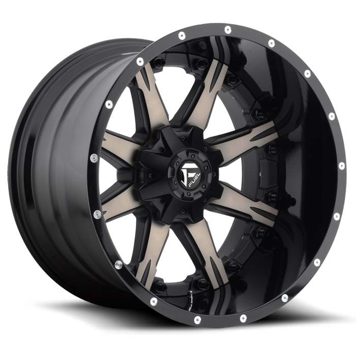 Fuel Nutz D252 Black and Machined Dark Tint with Gloss Black Lip Two Piece Off-Road Wheels