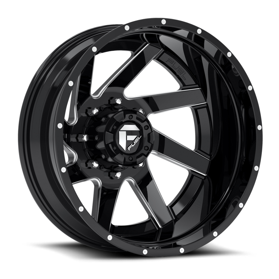 Fuel Renegade D265 Gloss Black and Milled with Gloss Black Lip Dually Two Piece Wheels - Rear