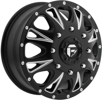 Fuel Throttle D513 Matte Black and Milled Dually One Piece Wheels - Front