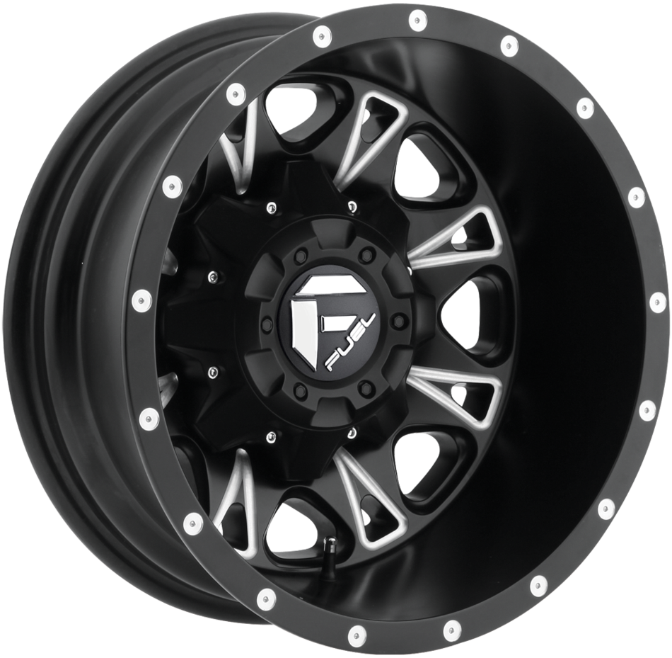 Fuel Throttle D513 Matte Black and Milled Dually One Piece Wheels - Rear