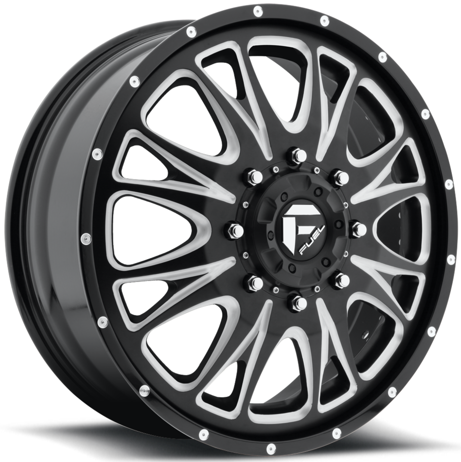 Fuel Throttle D213 Black and Milled Dually Two Piece Wheels - Front