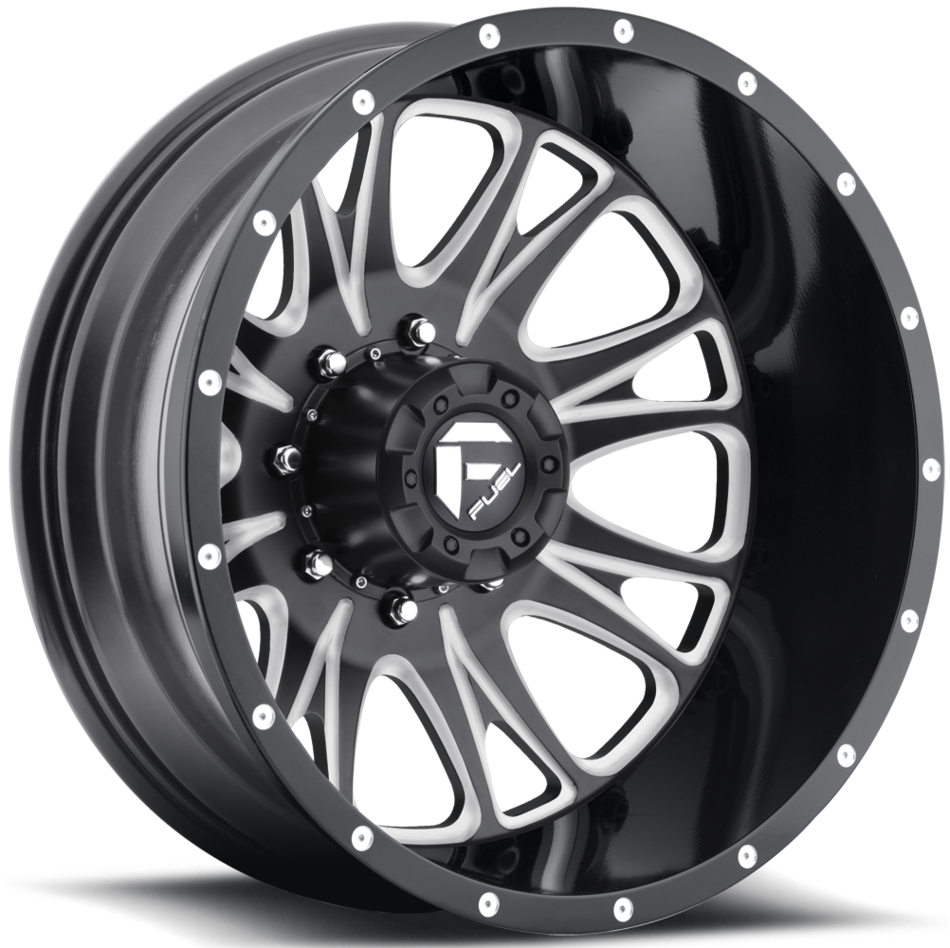 Fuel Throttle D213 Black and Milled Dually Two Piece Wheels - Rear