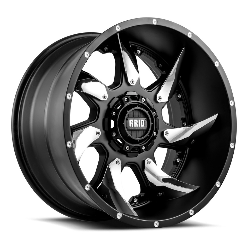 Grid Offroad GD1 Matte Black with Chrome Inserts Finish Wheels