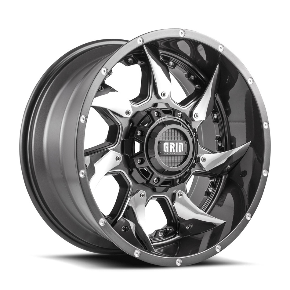 Grid Offroad GD1 Graphite with Chrome Inserts Finish Wheels