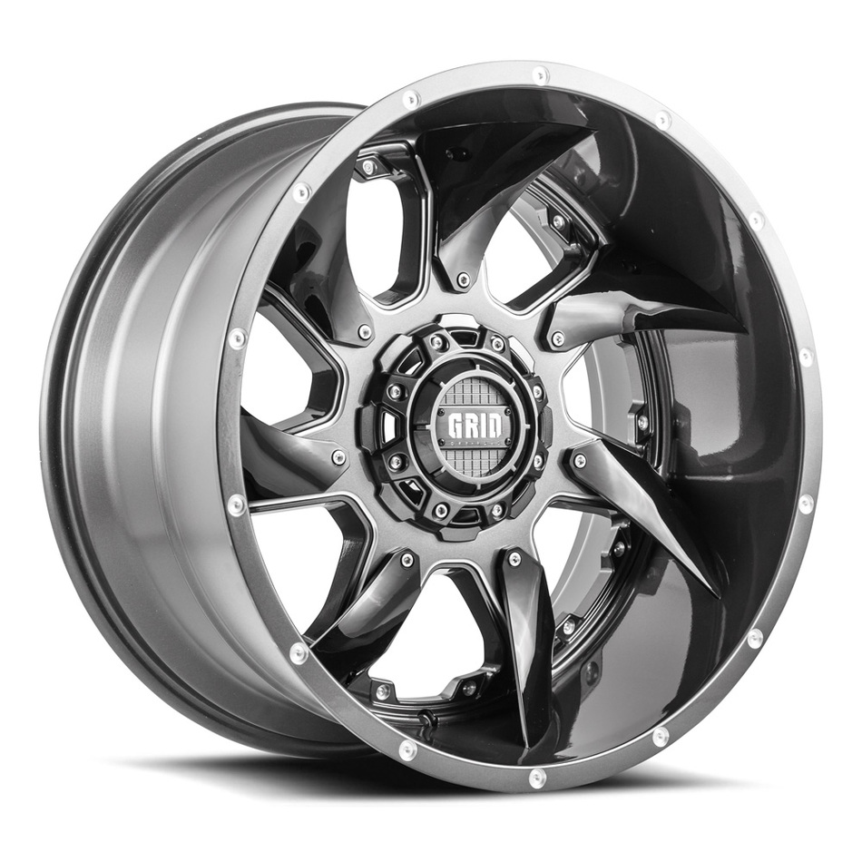 Grid Offroad GD1 Graphite with Black Inserts Finish Wheels