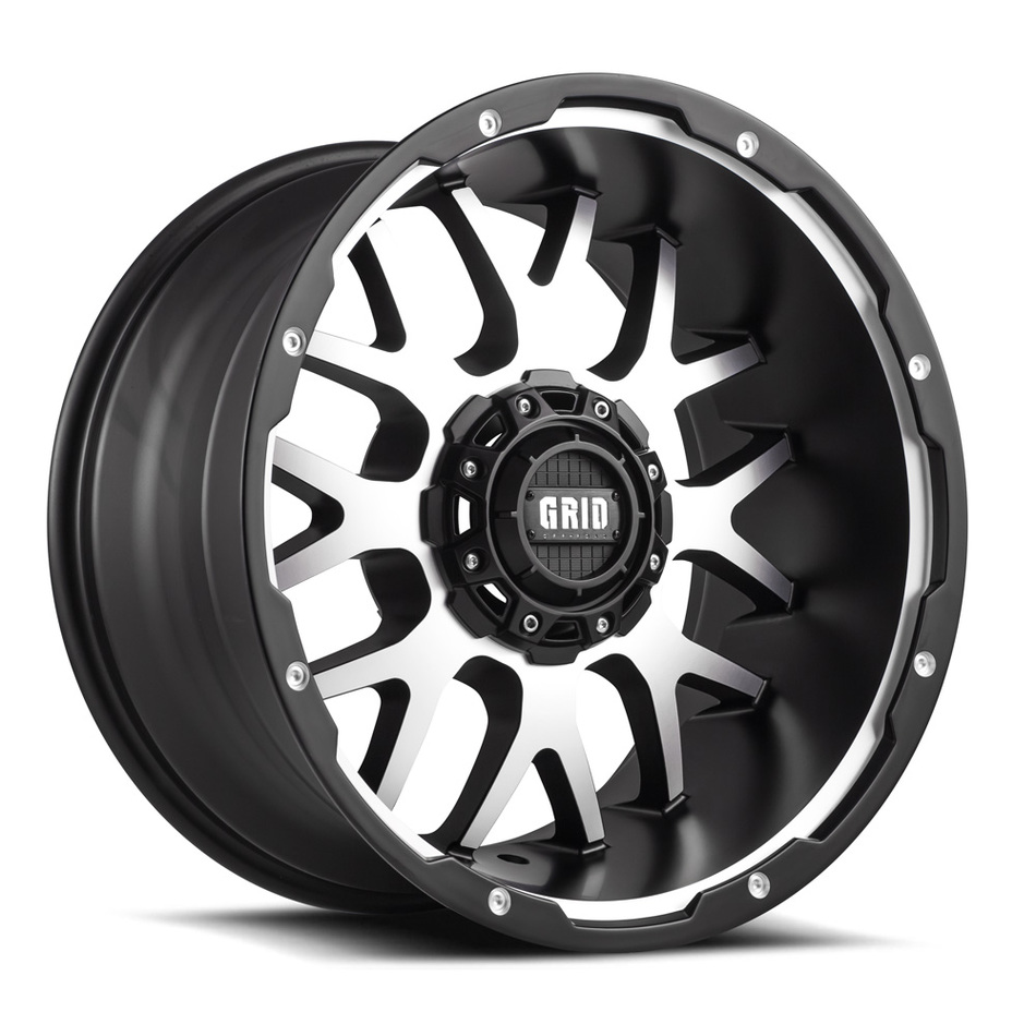 Grid Offroad GD2 Matte Black with Machined Face Finish Wheels