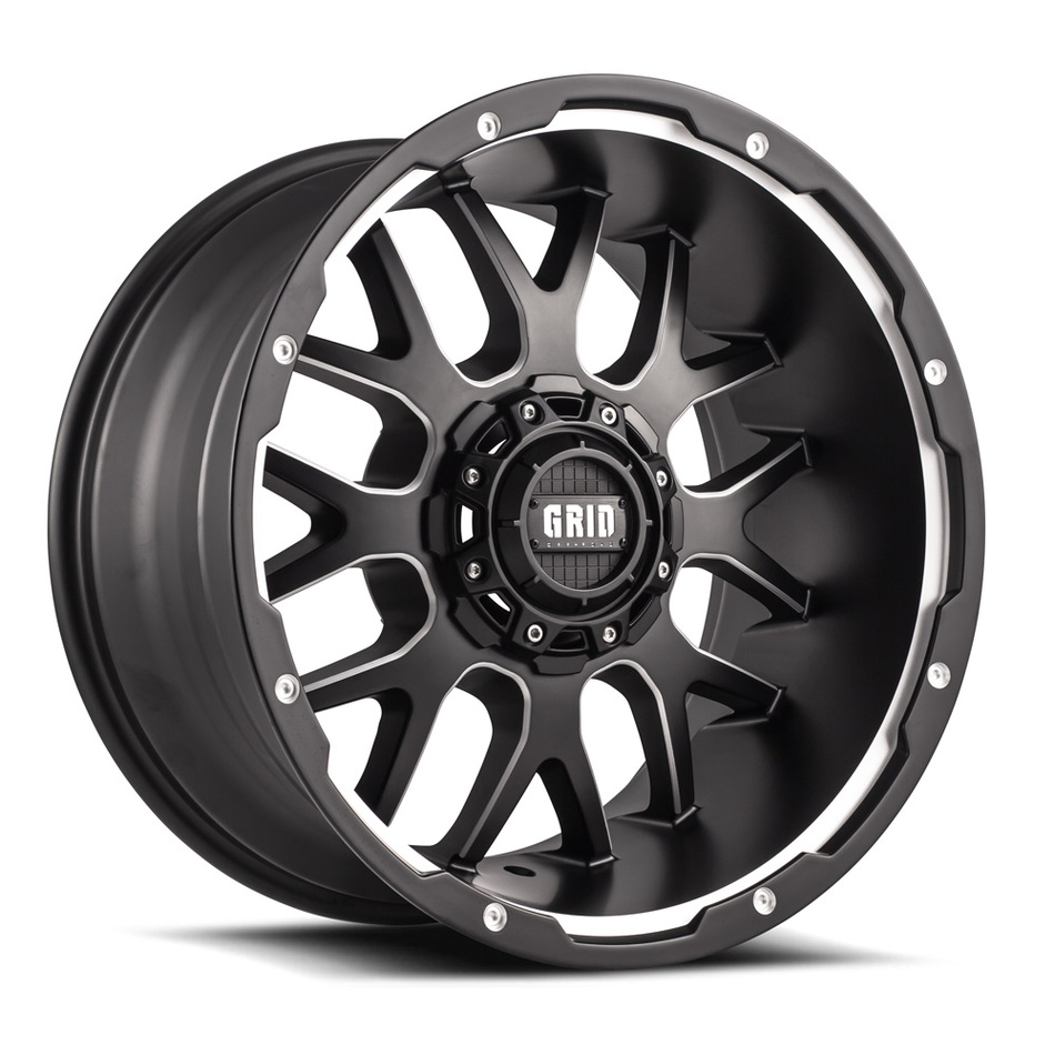 Grid Offroad GD2 Matte Black with Machined Edge Finish Wheels