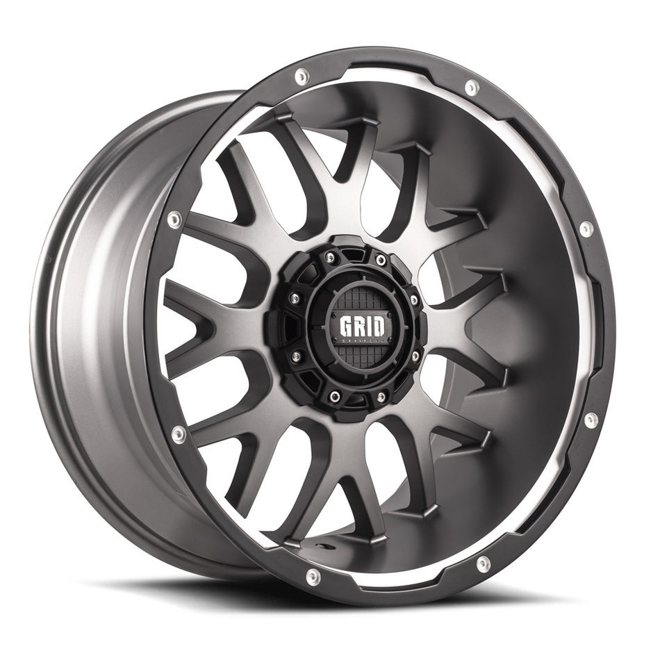 Grid Offroad GD2 Hyper Silver with Black Lip Finish Wheels