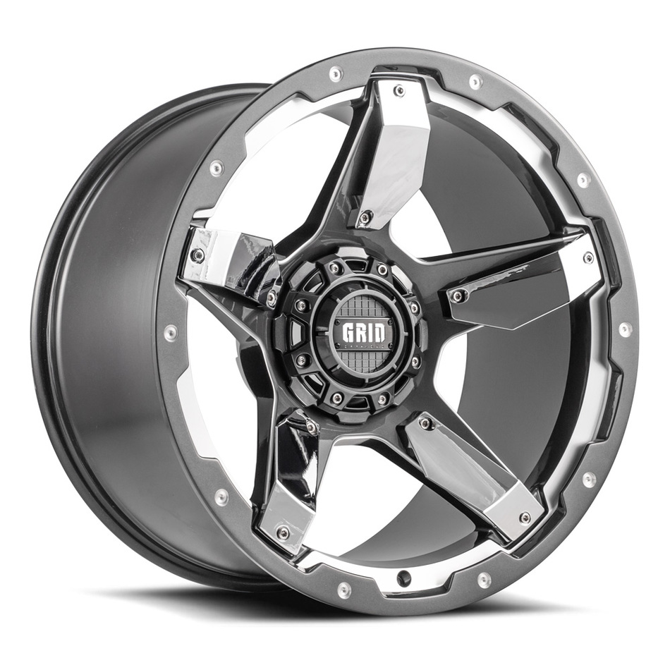 Grid Offroad GD4 Graphite with Chrome Inserts Finish Wheels