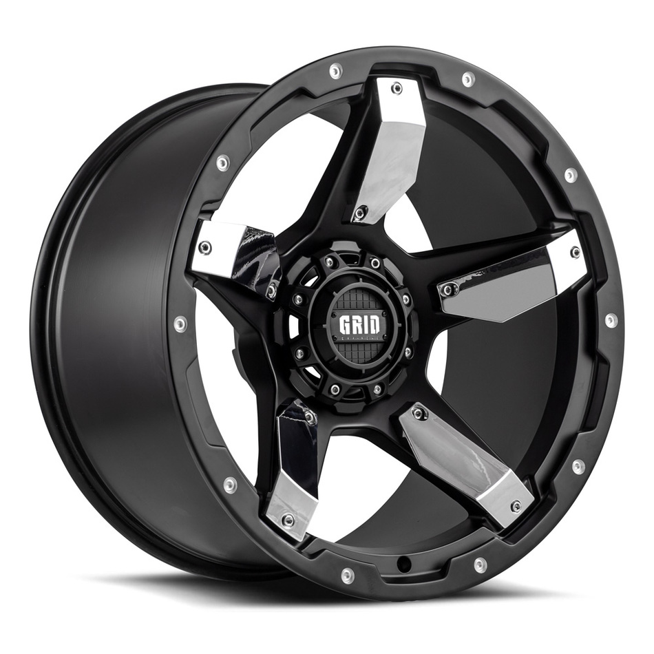 Grid Offroad GD4 Matte Black with Chrome Inserts Finish Wheels